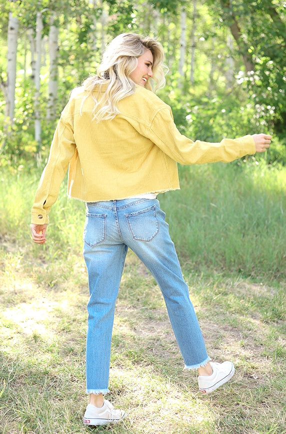 Timeless Yellow Corduroy Flare Jacket - FINAL SALE