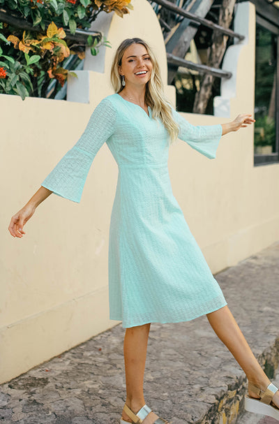 Emilee Ocean Blue Eyelet Midi - DM Exclusive - FINAL SALE