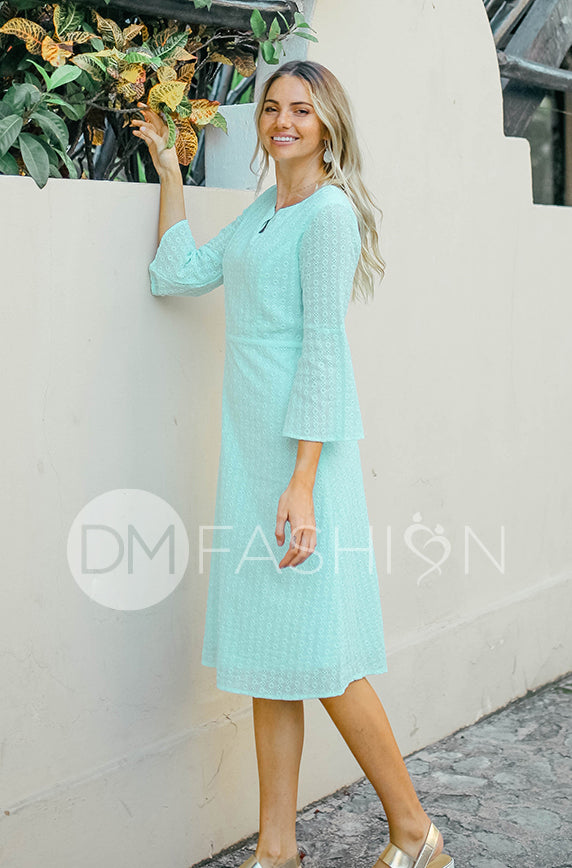 Emilee Ocean Blue Eyelet Midi - DM Exclusive