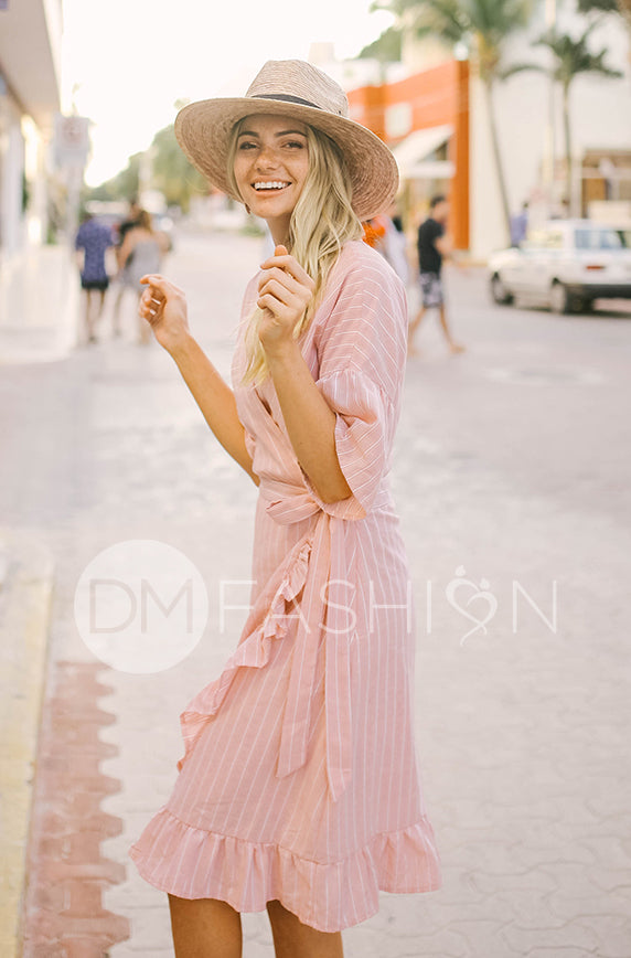 Colette - Pink Coral Ruffle Striped Dress - DM Exclusive - FINAL SALE