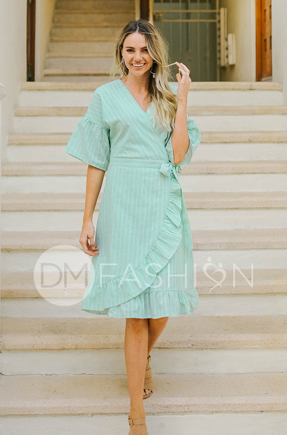 Colette - Sage Ruffle Striped Dress - DM Exclusive - FINAL SALE