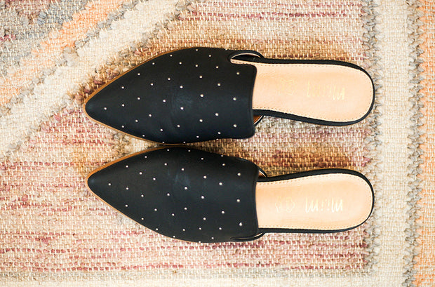 Gaze Black Studded Mule
