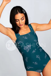 Square Neck One Piece - Teal Etched Floral