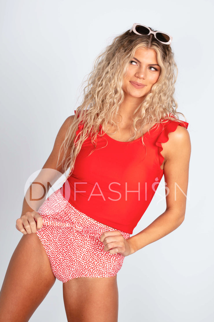 Ruffle V Back Midkini Top - Cherry Red
