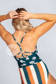 Sailor Back One Piece - Fiji Floral Stripes