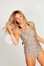 Ruched V Neck One Piece - Black Leopard