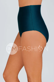 High Waist Bottom - Teal Ribbed
