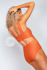 Square Neck One Piece - Rust Ribbed