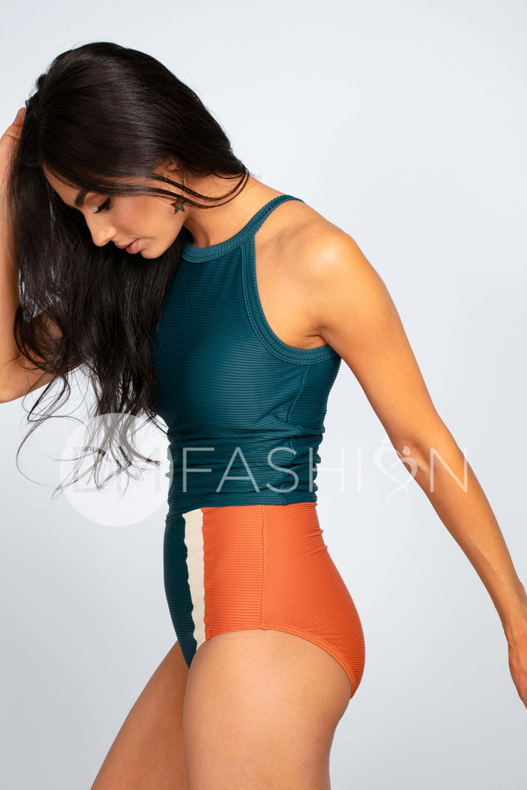 Ribbed Midkini Top - Teal