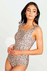 Square Neck One Piece - Black Leopard