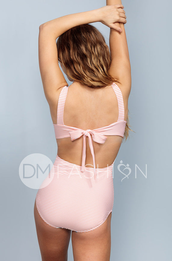 Scoop Neck Back Tie One Piece - Dusty Pink Waterfall Stripes - DM Fashion