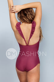 Ruffle V Back One Piece - Red Plum - DM Fashion