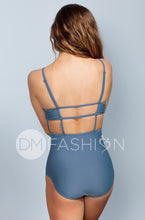 High Neck Square Back One Piece - Ash Blue