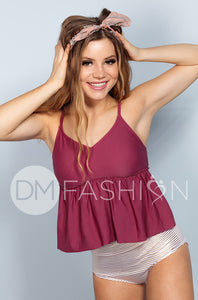 V Peplum Tankini - Red Plum - DM Fashion