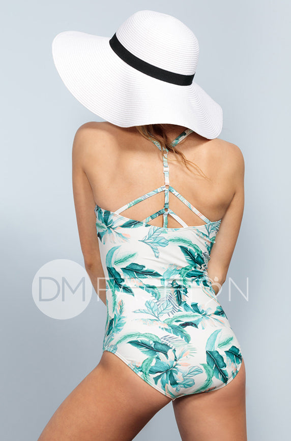 Sailor Back One Piece - Hawaii Palm - DM Fashion
