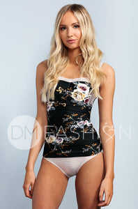 Sweetheart Ruched Tankini - Black Orchard Gold Stripes - DM Fashion