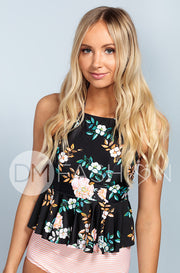 High Neck Peplum Halter Top - Black Retro Floral - FINAL SALE