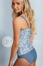 Sweetheart Ruched Tankini Top - Ash Blue Roses - Restocked