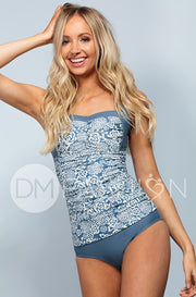 Sweetheart Ruched Tankini - Ash Blue Roses - RESTOCKED - DM Fashion