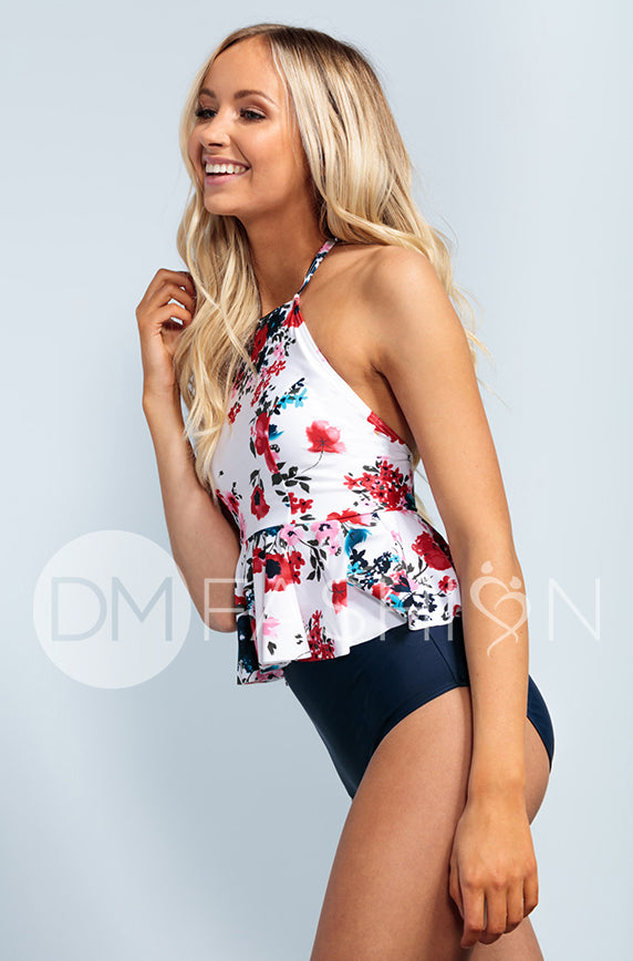 High Neck Peplum Halter Top - Abstract Floral - FINAL SALE