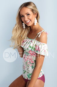 Off The Shoulder Double Ruffle Tankini Top - Dahlila Rose