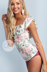 Off The Shoulder Ruched Double Ruffle Tankini Top - Dahlila Rose
