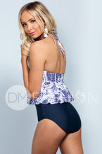 High Neck Peplum Halter - Navy Tie Dye