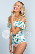 Off The Shoulder Ruched Double Ruffle Tankini - Hawaii Palm