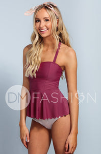 Scalloped Peplum Tankini - Red Plum - DM Fashion