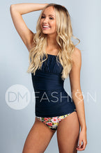 Ruched Square Tankini Top - Navy