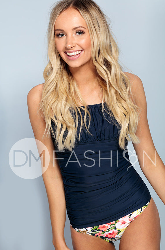 Ruched Square Tankini Top - Navy - FINAL SALE
