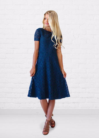 Madlyn Soft Crochet Lace Dress in Navy - DM Fashion