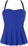Scalloped Peplum Tankini - Royal Blue - DM Fashion