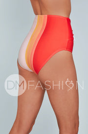 Front Tie High Waist Bottom - Rainbow Water Colors