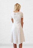 Madlyn Soft Crochet Lace Dress in Cream