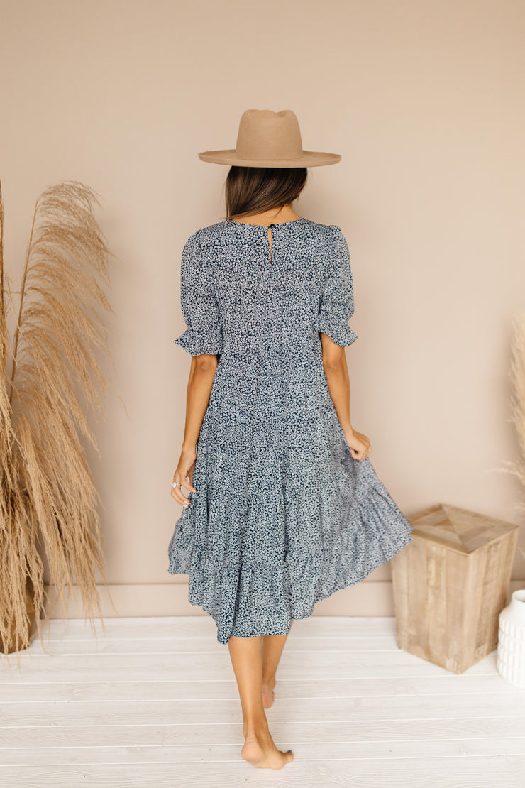 Four Seasons Navy Ditsy Floral Dress