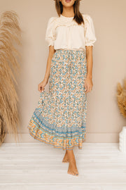 Willow Beige Floral Midi Skirt