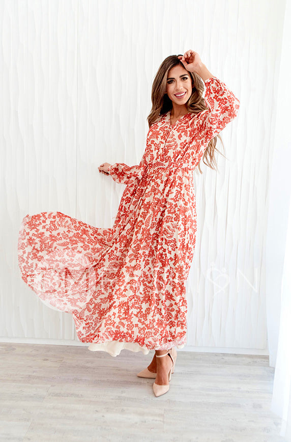 Elizabeth Autumn Floral Gold Stripe Maxi - DM Exclusive - Nursing Friendly