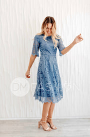 Lillian Slate Blue Dress - DM Exclusive