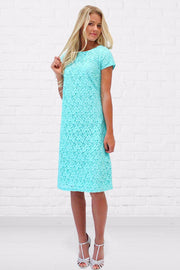 Charli Soft Floral Lace Shift Dress in Robin Egg Blue - FINAL SALE - DM Fashion