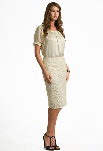 Lace Crochet Pencil Skirt - Final Sale - DM Fashion