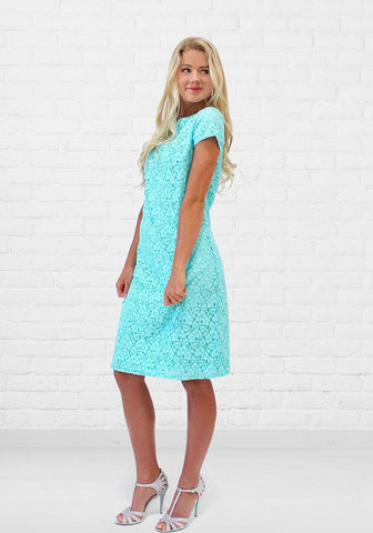 Charli Soft Floral Lace Shift Dress in Robin Egg Blue - DM Fashion