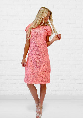 Charli Soft Floral Lace Shift Dress in Salmon - DM Fashion