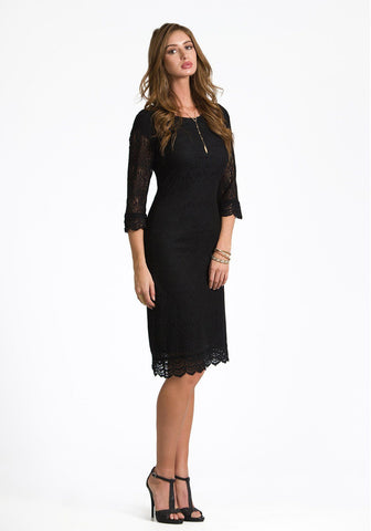 Ella Soft Crochet Trim Dress in Black