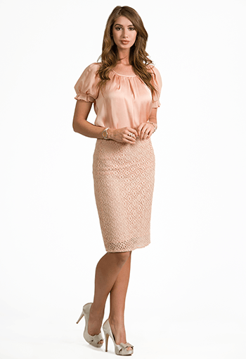 Lace Crochet Pencil Skirt - DM Fashion