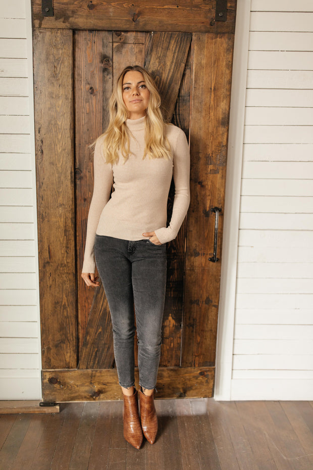 Sweet Talk Taupe Long Turtleneck