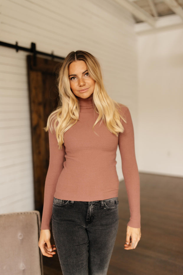 Sweet Talk Mauve Turtleneck