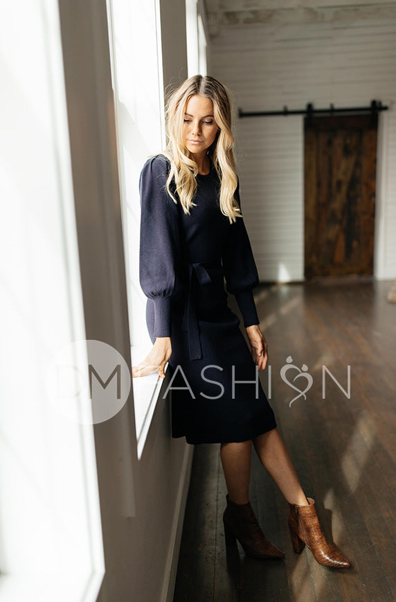 Milania Navy Sweater Dress - DM Exclusive