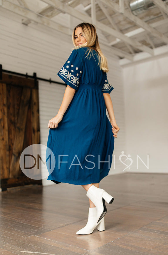Marlee Teal Embroidery Midi Dress - DM Exclusive