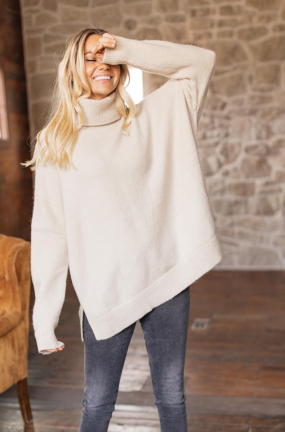 Better Times Oatmeal Oversized Sweater - Restocked